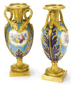 date unspecified A pair of Louis XVI style gilt bronze mounted Sèvres style porcelain vases France, third quarter 19th century Estimate  10,000 — 15,000  USD  LOT SOLD. 23,750 USD