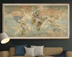 Antique World Map Push Pin Wall Art, Vintage Travel Map of World, Extra Large Old World Map Poster Art Home decor, Push pin map Large World Map Poster, Framed World Map, World Map Canvas, World Map Wall Art, Map Art, Antique World Map, Old World Maps, Vintage World Maps, Vintage Travel