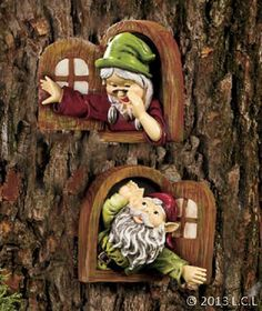 Gnome Tree Decor Welcome STATUE Sign Window shutter Yard Garden Outdoor Decor