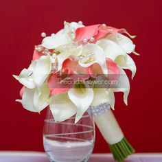 Coral and cream calla lily wedding bouquet with by TheBridalFlower