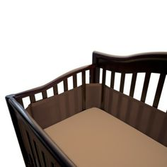 Breathable Mesh Crib Liner by BreathableBaby-Bison Brown. This mesh crib liner from BreathableBaby fits most standard slatted, solid back and solid end cribs. Soft and padded, the brown fabric liner keeps little arms and legs away from open slats. Available online or in store. http://www.target.com/p/breathable-mesh-crib-liner-by-breathablebaby-bison-brown/-/A-11256553#prodSlot=medium_1_4=breathablebaby