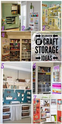 Craft Cupboards | Over the Moon 1 Martha Stewart craft cupboard via Making it Lovely 2 Fold down craft cupboard/desk is perfect for the space challenged crafters from Scrapbook.com 3 Transform a plain cabinet via BHG 4 This French style armoire got a makeover via In my own Style 5 Turquoise painted pegboard from Beneath my Heart 6 The same armoire as #4 looks totally different painted white via In my own Style 7 7. Transform an old cupboard along with suggestion for storing supplies via BHGT