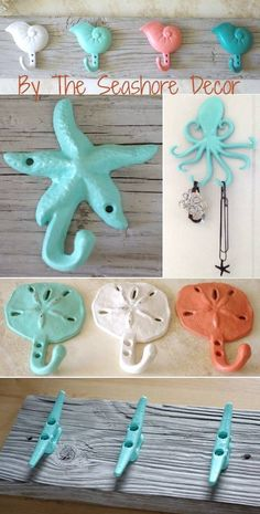 Sea inspired painted iron hooks... from By the Seashore Decor.