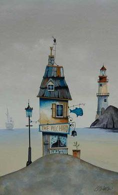 Gary Walton watercolour 'the Pilchard Shack'