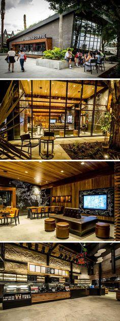 11 Starbucks Coffee-Shops aus der ganzen Welt / / This Starbucks Lage in Downtown Disney in Orlando, Florida, hat Zitronengras wächst auf dem geneigten Dach, während große Fenster Leute vorbeigehen lassen, um ins Innere zu sehen, hat Holztischen und Stühlen und bequemen Ledersofas.