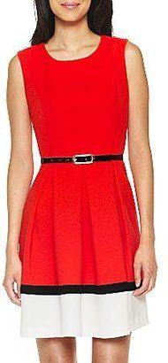 ShopStyle: Liz ClaiborneColorblock Sleeveless Crepe Dress Scarlet/Blk/Cream