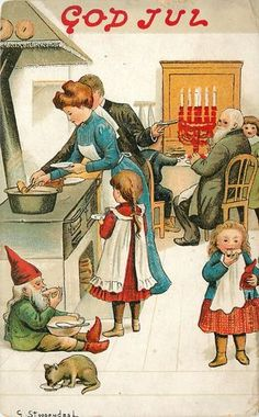 Christmas Fantasy~Little Gnome Eats by Stove~Cat~Family Dinner Table~Stoopendaal