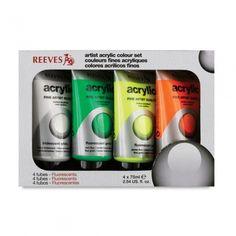 REEVES ACRYLIC PAINT SET 4PK (FLURO 2)  £9.29