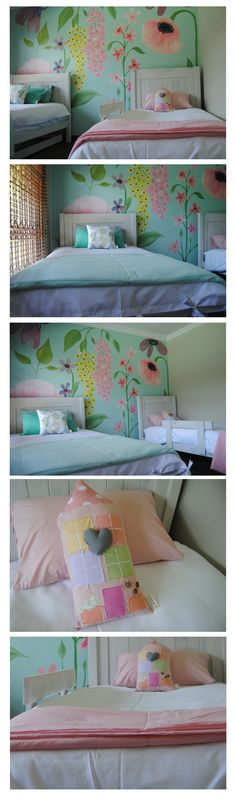 Oogappel Design Studio and our sister company Flippe&Fleur Designer Bedding collaborated to create a beautiful flower themed room makeover for 2 sisters. Credits: Mural by Oogappel Design Studio Credits: Bedding (3/4Duvet Covers and throws) and scatters by Flippe&Fleur Designer Bedding Freelance Graphic Design, Room Themes, Bed Design, Digital Illustration, Beautiful Flowers, Bedding, Sisters, Hand Painted, Draw