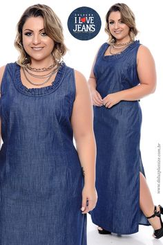 Vestido Jeans Plus Size Silvana - Coleção I Love Jeans Plus Size - daluzplussize.com.br