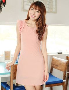 Graceful Sleeveless Frilled Slim Fit Dress with Pearl Trim | Item Code 701674 at M.EastClothes.com