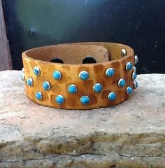 Tan Textured Leather Bracelet Cuff with Turquoise Studs