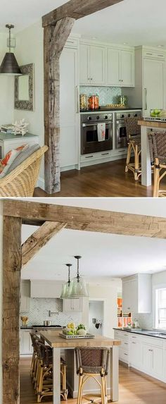 DIY Kitchen Decor Projects Done With Reclaimed Wood Add a decorative wooden support beam between the living room and the kitchen.Add a decorative wooden support beam between the living room and the kitchen. Farmhouse Style Kitchen, Modern Farmhouse Kitchens, Rustic Kitchen, Kitchen Craft, Kitchen Ideas, Diy Kitchen Remodel, Kitchen Decor Themes, Kitchen Remodeling, Diy Interior