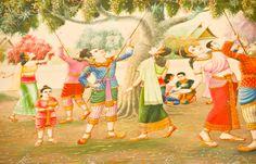 Pittura tailandese sulla parete del tempio su allegoria Vessantara