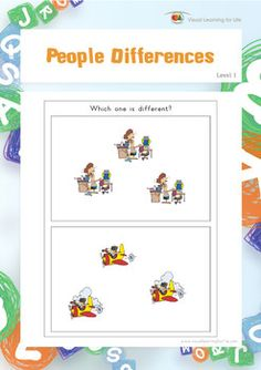 """In the """"People Differences"""" worksheets, the student must identify the image that is different. Available at www.visuallearningforlife.com on the Visual Perceptual Skills Builder Level 1 CD."""