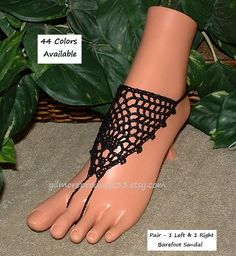 Pretty Victorian lace black #steampunk barefoot sandals that are those sexy toe anklets that would show off any feet.  This women coal black foot jewelry is for those that l... #etsy #anklet
