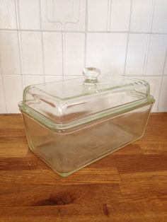 Vintage Westinghouse Green Clear Glass Refrigerator by KimBuilt