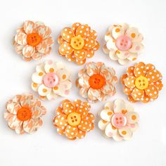 HANDMADE Paper FLOWERS with BUTTON Centers 9 by PapersAndPetals, $3.75