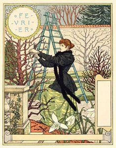 It's the beginning of the month -time for La Belle Jardiniere! Février Eugene Grasset with thanks to Bob Young; Art Vintage, Vintage Prints, Antique Prints, Art And Illustration, Belle Epoque, Jean Antoine Watteau, Eugene Grasset, Design Art Nouveau, Davidson Galleries