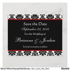 Modern Wedding Save The Dates, White Damask, Red Accents, Save The Date Cards, Postcard Size, Paper Texture, Smudging, Announcement, Envelope