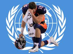 Tebowing on the United Nations flag