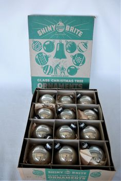 Vintage Shiny Brite Ornaments in Original Box Silver Mercury Vintage Hooks, Shiny Brite Ornaments, Glass Christmas Tree Ornaments, Favorite Candy, Make An Effort, Vintage Ornaments, Mercury Glass, Bulb
