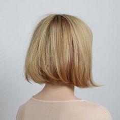 Short Blonde Thick Line Bob Back View
