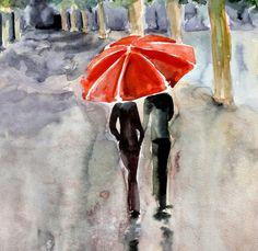 Rain  Love red umbrella watercolor painting 13x19 by Elena Romanova FairySomnia via Etsy