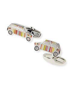 Multi-Stripe Mini Car Cuff Links, Multi Colors - Paul Smith