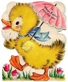 vintage easter card - darling duck holding umbrella