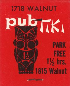 Pub Tiki, Philadelphia by jericl cat, #frontstriker 30 stem Paper #MatchBook Foil Cover Stock. to order your business' own branded advertising matches. goto: www.GetMatches.com or call 800.605.7331 Today!