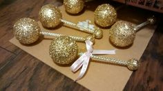 Golden touch baby rattles...perfect for your baby prince or princess themed baby shower or party!