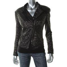 Kenneth Cole New York Womens Sequined Zip Wrists Crop Blazer