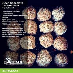 No bake coconut chocolate protein balls using Isagenix. Isagenix protein balls are a great snack. Whey Protein Recipes, Healthy Protein Snacks, Protein Foods, Healthy Eating, Protein Bars, Healthy Recipes, Clean Eating, High Protein, Healthy Foods