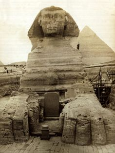 The Great Sphinx Guarding the Pyramids Egypt Statue, c.1910