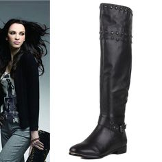 148.90$  Watch here - http://alibxk.worldwells.pw/go.php?t=32211199657 - Size 41 40 34 35 In Season Hot Sale Fashion top knee-length boots Girls  flat genuine leather Boots rivet fur one Over-the-Knee 148.90$