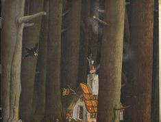 I adore this unusual German edition of Hansel and Gretel published in 1944 by Globi-Verlag and illustrated by Herbert Leupin. Hansel Y Gretel, Grimm, Illustration, Painting, Art, Brother, Art Background, Painting Art, Kunst