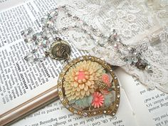 POLLY upcycle spring floral necklace assemblage by lilyofthevally