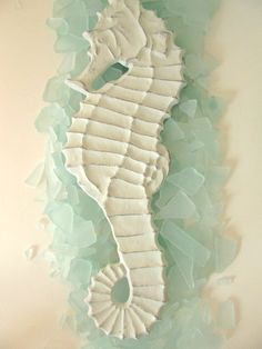 Coastal Cottage Decor White Seahorse
