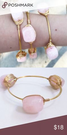 "[FREE GIFT! This weekend only!] Rose Quartz Bangle BRAND NEW! Handmade with Rose Quartz nugget stones. (FREE GIFT! Includes (1) free pearl bangle. Made with glass pearls.)  Gold colored wire. Tarnish resistant.  Diameter is 2.75 inches across.   Price firm unless bundled. Please use ""Add to Bundle"" feature for bundle discount. Sydney Elle Jewelry Bracelets"