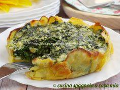 Torta salata senza pasta sfoglia: la classica torta Pasqualina con ricotta e spinaci rivista in maniera originale. Ricetta GialloZafferano.