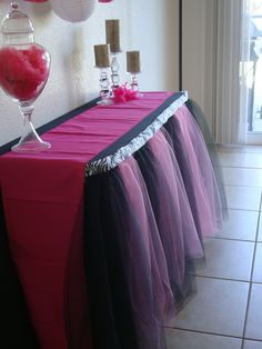 Pink and Black Zebra Table Tutu Skirt by BaileyHadaParty on Etsy, $67.00