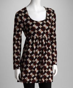 Take a look at this Brown & Beige Abstract Dot Dress by Fall-Approved: Women's Apparel on #zulily today!