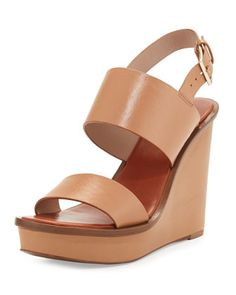 Lexington+Leather+Wedge+Sandal,+Natural+Blush+by+Tory+Burch+at+Neiman+Marcus.