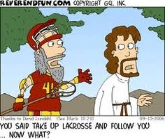 """""""pick up the cross"""" - I just find this funny as a lacrosse player Christian Comics, Christian Cartoons, Funny Christian Memes, Clean Christian Humor, Church Memes, Church Humor, Church Signs, Catholic Jokes, Bible Humor"""