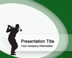 Free Sport Golf Swing PowerPoint template with nice golf player position and green background