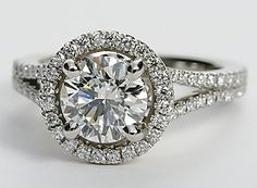 Monique Lhuillier Split Shank Halo Engagement Ring in Platinum #BlueNile