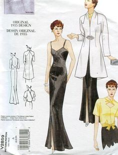 Vogue 2859 Retro 1930's Vintage 1935 Evening Gown Coat Reproduction Old Store Stock Uncut by LanetzLivingPatterns on Etsy