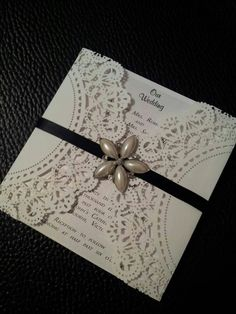 Doily invites with embellishments
