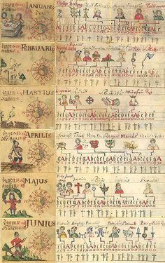 calendar with golden numbers, feastdays, occupation of months and hours of light and darkness, table with good and evil days